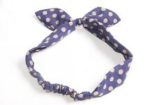 Best Women 70s Retro Style Polka Dot Pattern Hair Band with Wired Bow (S282)