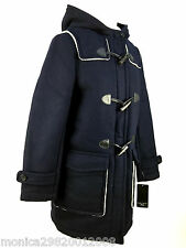 ZARA BLUE WOOL BLEND HOODED DUFFLE COAT JACKET SIZE LARGE