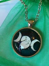 Triple Moon Goddess Glass Cabochon Dome Pendant Necklace. Hand Made. NEW