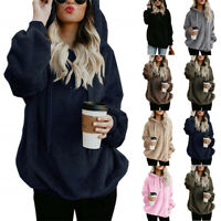 Womens Fluffy Fleece Hoodies Winter Long Sleeve Jumper Pullover Sweater Tops UK
