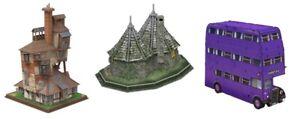 Harry Potter 3D Puzzle Triple Pack Set The Burrow, Hagrid's Hut &The Knight Bus