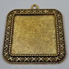 7pcs Black Alloy Square Cameo Setting Base Tray Pendant Charms Jewelry 09079