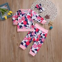 Perfect Baby Toddler Girls Floral Outfit Set Top Sweatshirt + Pants + Headband