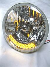 "Street Hot Rod 7"" H4 Headlight w/ 9 Amber LED Turn Signals 12v Heavy Duty"