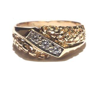 14k yellow gold .20ct diamond mens wedding  ring nugget ring band 5.7g gents 9