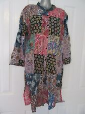 NEW 100% Recycled Upcycled Patchwork Fabric Long Shirt Dress Button Down OS