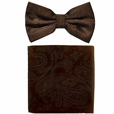 New formal men's pre tied Bow tie & hankie set paisley pattern Brown wedding