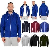 Mens Plain Zipper Hoodies American ZipUp Fleece Sweatshirts Jumper Top S - 5XL