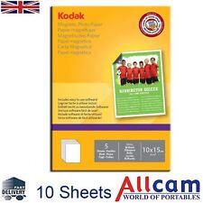 "Kodak Inkjet Magnetic Photo Paper Glossy 6x4"" to Print Fridge Magnet Inkjet 10pc"