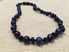 12.5 inch Baltic Amber Necklace Raw unpolished Black Cherry & Blue Lap