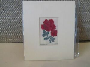 COPECREST WOVEN SILK PICTURE~Jacqueminot Rose~Ready To Frame