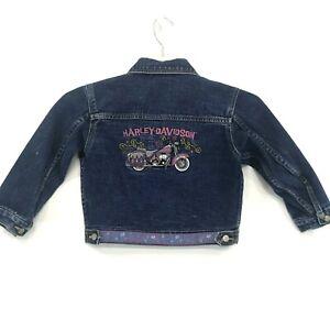 Harley Davidson Motorcycles Embroidered Denim Jacket Girls Sz 6 Trucker Logos