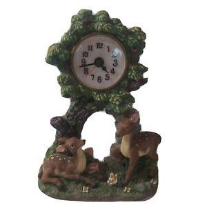 Mantle Clock Deer Forest Theme Cabin Decor Woodland Cottagecore Green Plants