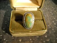 ~Signed T Sterling Kingman Turquoise Ring Size 7~