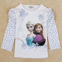 LA REINE DES NEIGES T-Shirt Blanc Elsa Anna bleu manches longues Bébé fille