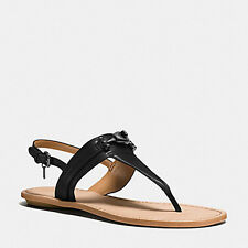 8002 Coach Womens Black Tanned Leather Q9081 Candace Thong Sandals 7 M $145