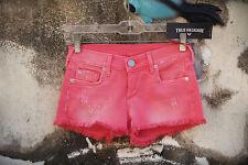 NWT TRUE RELIGION Joey Cut Off Size 23 Hot Denim Shorts Pink