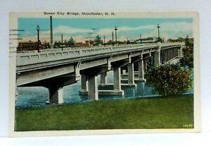 Manchester New Hampshire Queen City Bridge Vintage Postcard