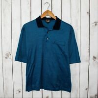 Dunhill Men's Short Sleeve Polo Shirt Mercerized Cotton Blue Sz L Made in Italy