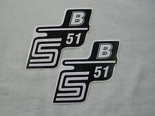 Aufkleber für Seitendeckel S51 B weiß links und rechts