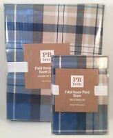 Pottery Barn Teen Field House Twin Duvet Cover & Standard Sham Navy Blue NEW