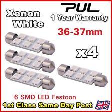 4x 36mm 37mm matrícula Luz Interior Festoon bombilla 6 Led Xenon Blanco 239 242