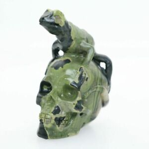 """Height 2.7"""" LOUTS FLOWER STONE Hand Carved Lizard Crystal Skull Healing Reality"""