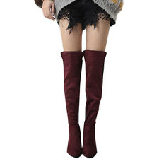 Womens Thigh High Boots Over The Knee Ladies Party Stretch Block Mid Heel Sizes