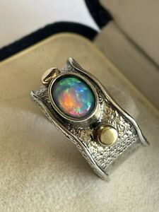 Arts & Crafts Style 925 Silver Gold Detail & Opal Handmade Dress Ring Size Q