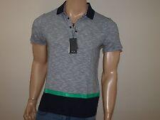 Armani Exchange Authentic Colorblock Stripe Mix Polo Shirt Navy NWT
