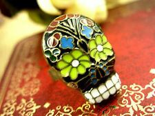 Adjustable vintage enamel flower skull ring biker punk