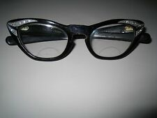 Vintage Countess Made in France Eyeglasses Frames Black Cat Eye Rhinestones
