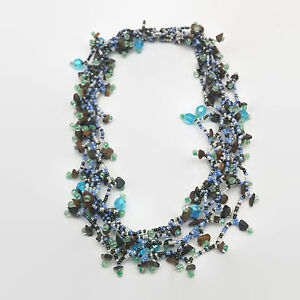 Beaded Multi Strand Blue Brown & White Seed Bead Necklace Magnetic Clasp