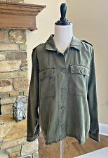 Lucky Brand M Utility Jacket Army Green Button Long Sleeve Medium NEW $119