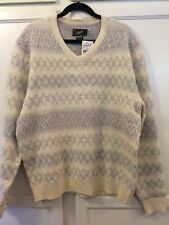Grayers Clothiers Men's Sweater Ivory / Gray Lambs Wool Blend Size XxL