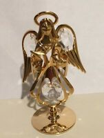 "24K Gold Plated Brass Desk Table Angel with Swarovski Crystals 3"" x 2"""