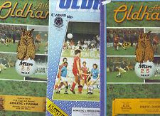 Oldham Athletic v Fulham 1983, Leicester City 1983 y Middlesbrough 1984 en muy buena condición