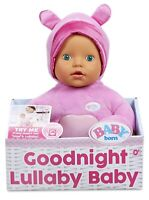 Baby Born Goodnight Lullaby Green Eyes Realistic Baby Doll 2+ Toy Play Girls Fun