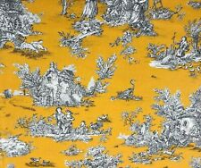 French Pastorale Toile De Jouy Linen Fabric in Yellow | Double Width 280cm Wide