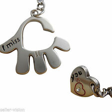 """Sweet Love Palm """"I Miss You"""" Couple Key Chain Ring Keyfob Gifts Couples Partner"""