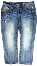 Buckle * MISS ME Thick Stitch Distressed Flap Pocket CUFFED CAPRI / JEANS SZ 27
