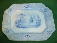 Antique C 1850 Blue Transferware English Staffordshire PLatter FRIBURG Davenport
