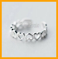 925 Solid Genuine Sterling Silver Adjustable Toe love heart Ring lady girls gift