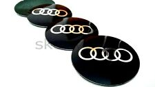 4x70mm Audi Black Alloy Wheel Center Caps Metal Badge Sticker /A3/A4/A6/A8/S4/TT