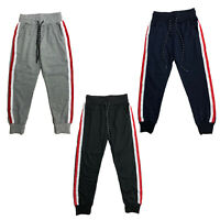 Boys Kids Striped Joggers Jogging Bottoms Tracksuits Fleece Sports Black Navy
