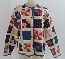 Susan Bristol Patchwork Jacket Red Blue Quilt Squares Blocks Country Size Large