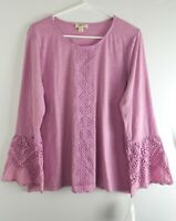 Style and Co Peasant Style Top Bell Sleeve Long Sleeve Lace Design Blouse $49.50