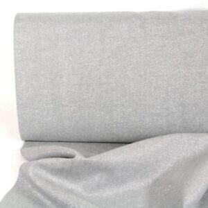 Metallic Stoff Baumwolle Leinen Essex Yarn Dyed fog silber Lurex Kaufman USA