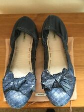 Miu Miu Blue Leather Bow Front Flat Navy Pump Shoes Size:7 Euro:40