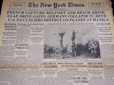 1944 NOV 21 NEW YORK TIMES - SAAR DRIVE GAINS, GERMANS COLLAPSE IN METZ- NT 2608
